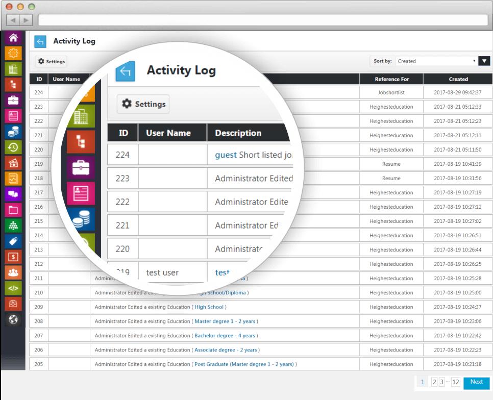 activity log